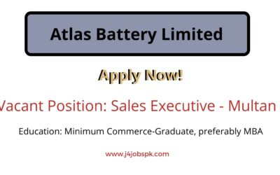 Atlas Battery Limited | Sales Executive | Apply Now