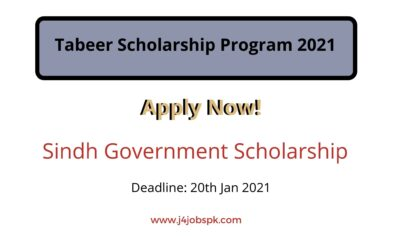 Tabeer Scholarship Program 2021 for Sindh – Apply Now